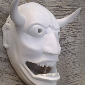 White Hannya Cosplay Mask Rear Side